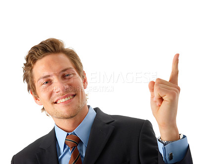 Buy stock photo Businessman pointing up.  Room to add an object, or some text. Conceptual graphic image.