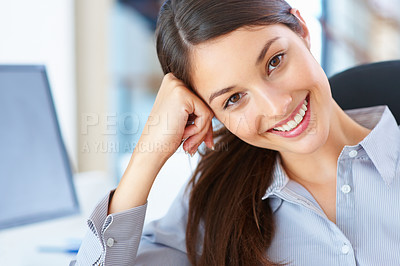 Buy stock photo Closeup of businesswoman giving you an attractive smile