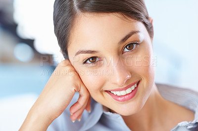 Buy stock photo Closeup of beautiful young businesswoman smiling