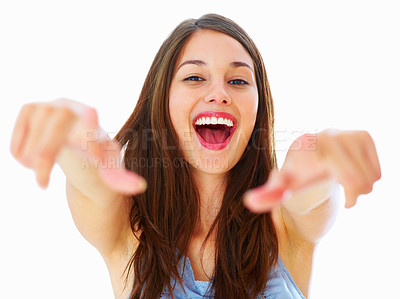 Buy stock photo Portrait of pretty woman pointing at you with both hands