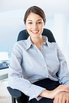 Buy stock photo Portrait of beautiful business woman sitting on chair and smiling