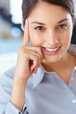 Buy stock photo Closeup of pretty female executive giving you an attractive smile