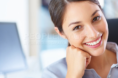 Buy stock photo Closeup of young business woman giving you cute smile