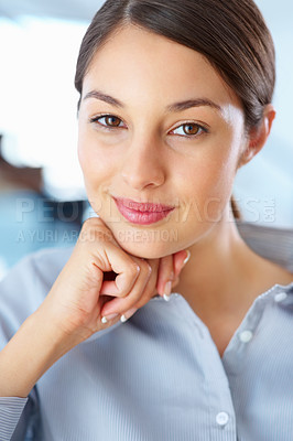 Buy stock photo Closeup of beautiful business woman smiling with hand on chin
