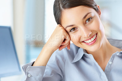 Buy stock photo Closeup of young female executive looking fresh and eager - copyspace