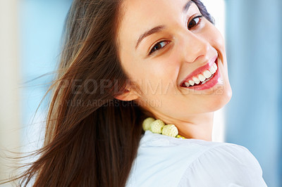 Buy stock photo Closeup of beautiful young woman giving you warm smile