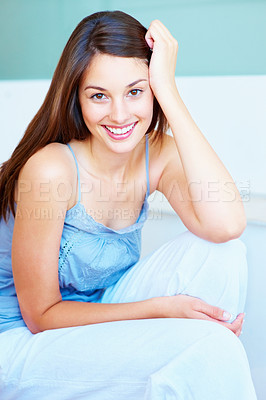 Buy stock photo Portrait of cute young girl with an attractive smile
