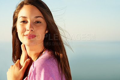 Buy stock photo Closeup of cute young female with an attractive smile - copyspace