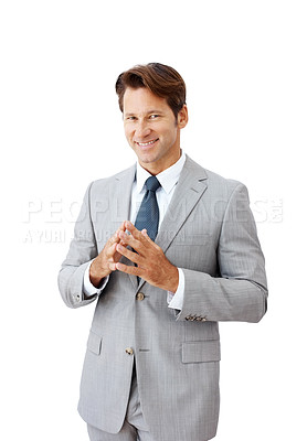 Buy stock photo Portrait of a smiling young businessman standing against white background