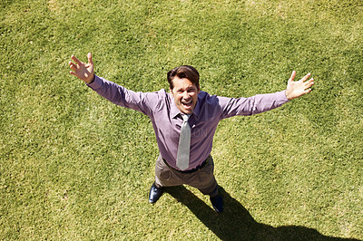 Buy stock photo Top view of a happy business man standing on green grass - Arms outstretched