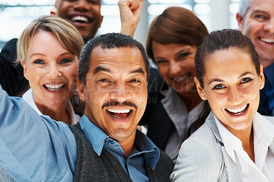 Buy stock photo Closeup of group of executives enjoying success