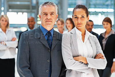 Buy stock photo Executive team with colleagues in background