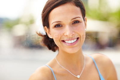 Buy stock photo Closeup portrait of beautiful young woman smiling - Outdoor