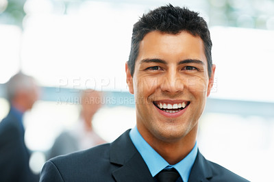 Buy stock photo Closeup of handsome businessman smiling