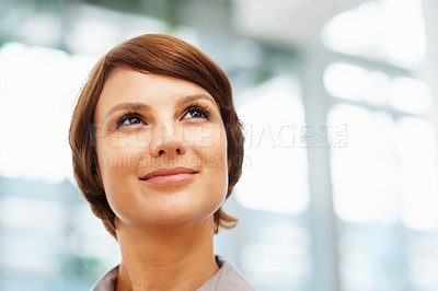 Buy stock photo Closeup of pretty executive looking off into distance