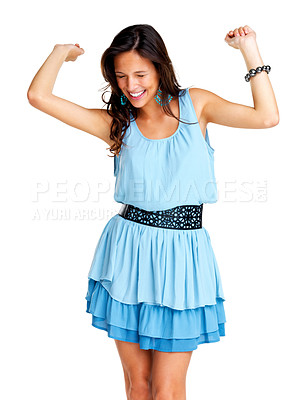 Buy stock photo Portrait of excited young woman smiling with hands raised against white background