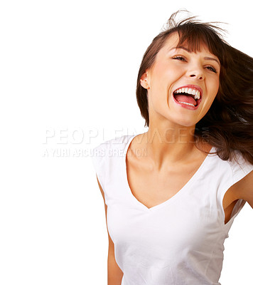 Buy stock photo Cute woman looking at you - Close-up of a young woman with wind in her hair.
