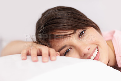 Buy stock photo Pretty woman resting in bed