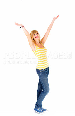 Buy stock photo Happiness - isolated  woman standing with her arms raised in the air