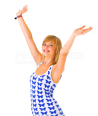 Buy stock photo Happiness - isolated woman