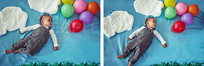 Buy stock photo Composite concept shot of an adorable baby boy flying through the sky holding a bunch of balloons