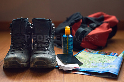 Buy stock photo Cropped shot of travelling essentials on a table