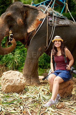 Buy stock photo Portrait of a young tourist sitting in a tropical rainforest with an elephant in the background