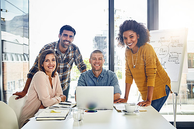 Buy stock photo Portrait of a team of designers having a meeting in an office