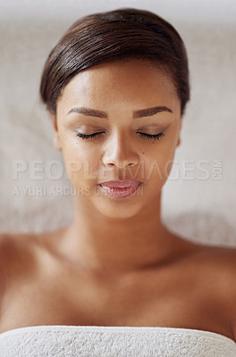 Buy stock photo Shot of a beautiful young woman at the beauty spa