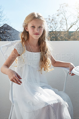 Buy stock photo Cropped portrait of a little girl dressed up for a wedding