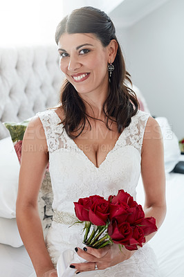Buy stock photo Cropped shot of an attractive young bride on her wedding day