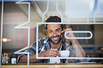 Staying connected during his coffee break