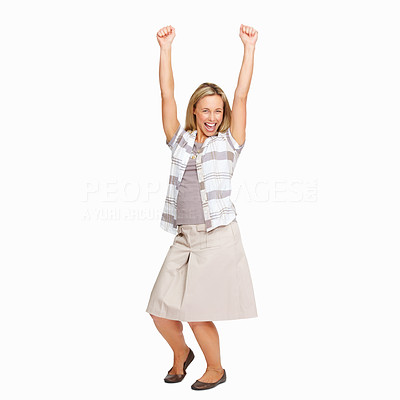 Buy stock photo Portrait of business woman raising arms and celebrating on white background