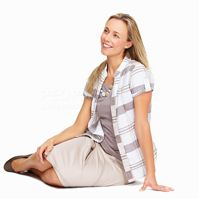 Buy stock photo Full length of beautiful mature woman relaxing over white background - copyspace