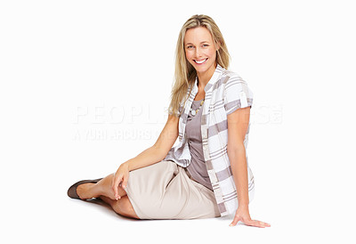 Buy stock photo Full length of beautiful and confident mature woman sitting on white background