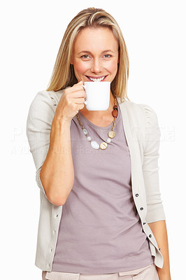 Buy stock photo Portrait of beautiful mature woman having cup of tea over white background