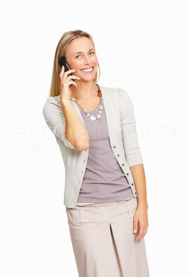 Buy stock photo Portrait of smiling business woman using cellphone over white background