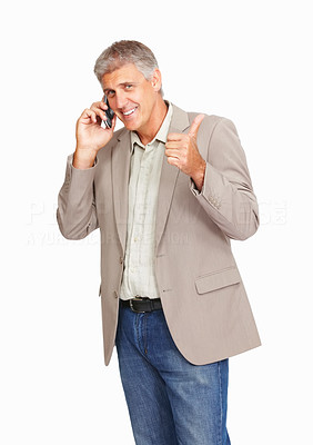 Buy stock photo Studio shot of a mature man using a mobile phone and giving you thumbs up against a white background