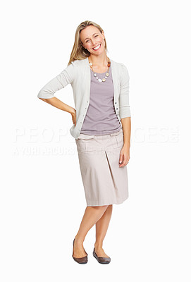 Buy stock photo Full length of pretty business woman smiling over white background