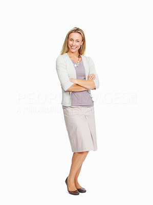 Buy stock photo Full length of confident business woman on white background