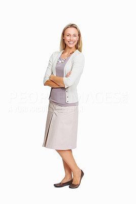 Buy stock photo Full length of happy business woman standing with folded hand on white background