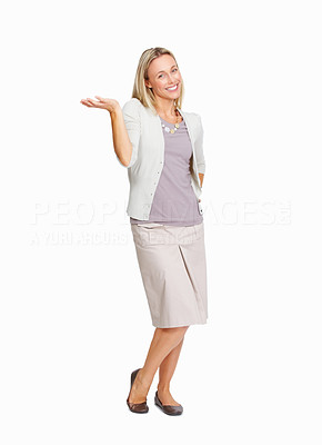 Buy stock photo Full length of beautiful business woman presenting something over white background