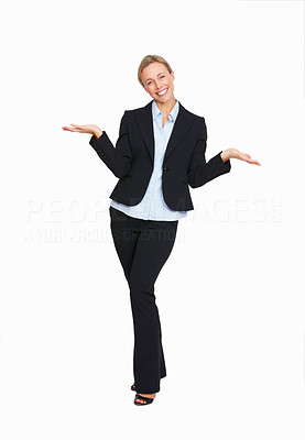 Buy stock photo Full length of business woman don't know what to do on white background