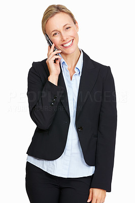 Buy stock photo Portrait of business woman with mobile phone on white background