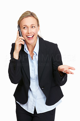 Buy stock photo Portrait of happy business woman speaking on phone call over white background