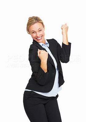 Buy stock photo Portrait of happy business woman over white background
