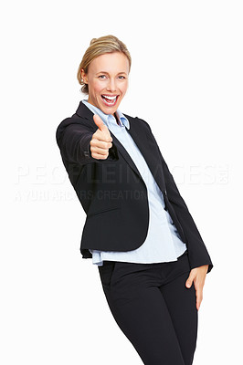 Buy stock photo Successful business woman give you an excellent sign on white background.
