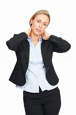 Buy stock photo Business woman isolated on white background and suffering from neck ache