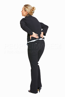 Buy stock photo Full length of business woman with backache over white background