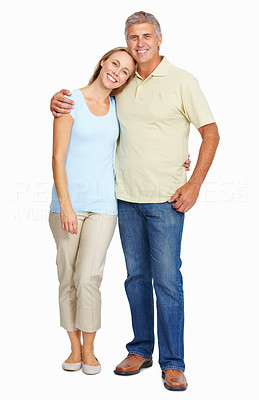 Buy stock photo Full length of happy mature couple embracing each other on white background